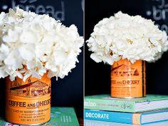 Cafe Du Monde coffee can as a vase