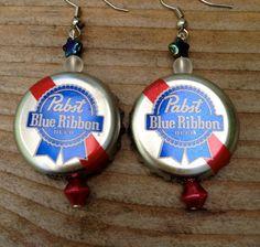 Pabst Blue Ribbon  PBR  Beer Bottle Cap Earrings by TinyMayor, $10.00