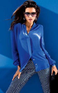 Madeleine Pure Silk Blouse in Royal