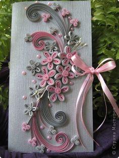 Открытка Квиллинг: моё любимое цветосочетание Бумажные полосы День рождения. Фото 1