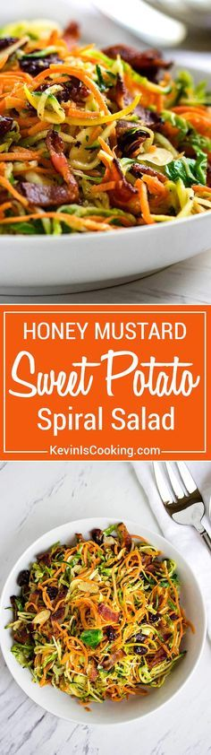 This Honey Mustard Sweet Potato Salad is made with with spiralized sweet potatoes, zucchini and shaved Brussels sprouts in a bacon honey mustard dressing that is off the hook in taste and made in no time! http://www.keviniscooking.com