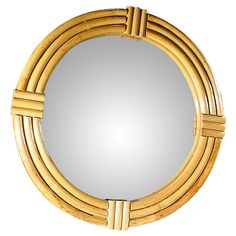 1940s Three-Strand Round Rattan Mirror | From a unique collection of antique and modern wall mirrors at http://www.1stdibs.com/furniture/mirrors/wall-mirrors/