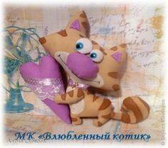 Мастер-класс Поделка изделие Шитьё МК Влюблённый котик Кофе Краска Ткань