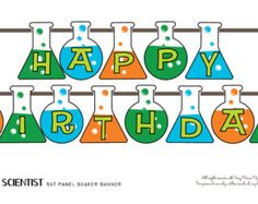 Scientist Science Mad Party Printable Beaker Birthday Banner - Instant Download