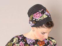 Schwarz Kopftuch mit Blumenprint unt dots