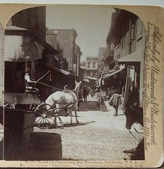 """In the heart of Chinatown, San Francisco, California, U.S.A."" - taken around 1870"