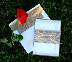 Cute lace band around wedding invitation!