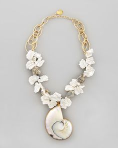 Shell-Pendant Pearl Necklace by Devon Leigh at Neiman Marcus.
