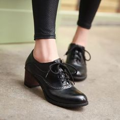 Brogue Womens Oxford Lace Up Wing Tip Retro Mid Chunky Heel Slip On Shoes Black - sexy womens shoes, shop womens shoes, wholesale womens shoes