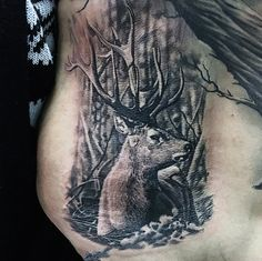 Rib Cage Side Deer Tattoo For Men With Woods Background