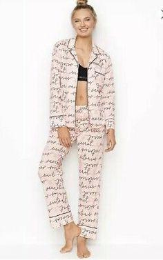 Victoria's Secret The Lightweight Pajama Set~ Size XL Vs Pajamas, Pajamas Women, Pjs, Cute Sleepwear, Cotton Sleepwear, Victoria Secret Pajamas, Long Sleeve Pyjamas, Pajama Set, Casual Outfits