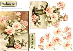 Pink Is The Color Decoupage on Craftsuprint designed by Elizas Emporium - A beautiful vase of pink flowers with 1 layer of the vase and flowers and then the rose heads to decoupage. Tags - For a Special Mum, Birthday Wishes - Now available for download!