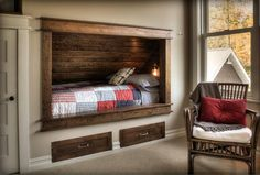 I love the idea of putting the kid's bed in the wall... the rest of the space is PLAY area!!!