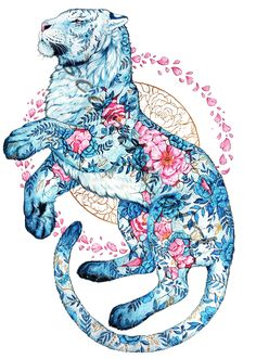 Jonna Hyttinen Artist - My Creative Edge <<< amazing art Animal Drawings, Art Drawings, Posca Art, Tiger Art, Japanese Art, Cat Art, Art Inspo, Watercolor Art, Watercolor Pattern
