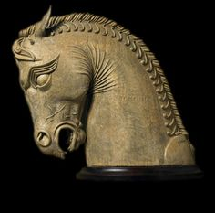 Persian cast stone horse, a reproduction of one excavated from Persepolis, ceremonial capital of the Achaemenid Empire, or First Persian Empire (550-330 BCE)