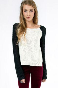 Kristen Contrast Sweater $40 at www.tobi.com