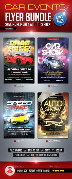 Auto Racing Flyer Templates Flyer template, Template and Psd - car flyer template