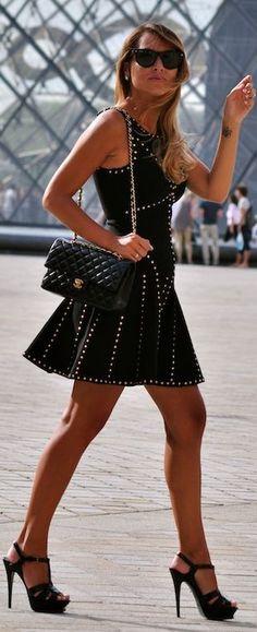 In Paris- black dress street style