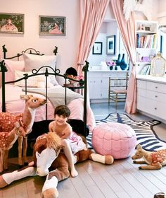 pink + black in a little girls bedroom