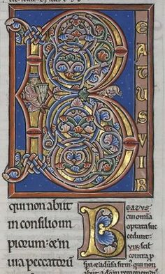 """Letter """"B"""" from the late 12th Century, 'Pierre Lombard, Commentaire sur les Psaumes - David Jouant de la Harpe' in the 'Manerius' style."""