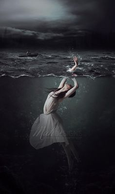 The storm knocked me off the ledge of the terrace pulling me closer to the water. The air in my lungs was replaced with water as I sunk. I struggled to stay close to the surface. All of a sudden my hand was cold and free