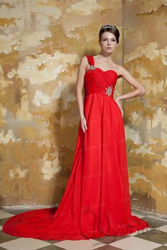 A-line Sweetheart Satin Chiffon Crystal Watteau Train Evening Dress