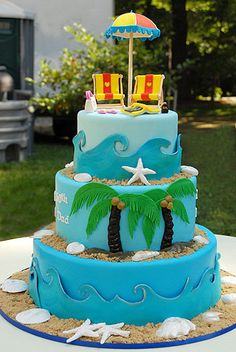 Beach Anniversary Cake-- add cruise ship on bottom layer {surf boards on the top instead} Beach Themed Cakes, Beach Cakes, Themed Wedding Cakes, Bolo Fake Eva, Ocean Cakes, Nautical Cake, Summer Cakes, Occasion Cakes, Wedding Cake Designs