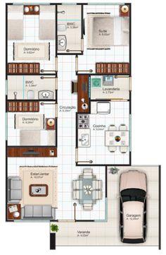 plantas de casas 70m2 com 2 quartos e 1 suite para imprimir