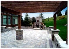backyard pergola with fireplace | Amazing Backyard Brick Paver Patio with Pergola and Fireplace in ...