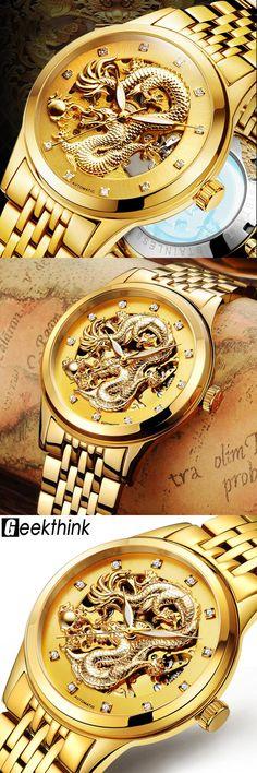Dragon Antique Design Automatic Watch Skeleton Vintage Gold Stainless steel Band Men's Wristwatch Mechanical Skeleton Steampunk