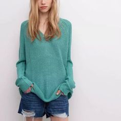 Autumn women knitted V neck sweaters long sleeve fashion solid candy color pullovers street wear loose tops new arrivals