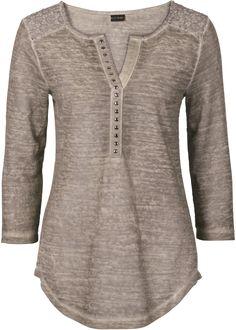 Blusa em look used bege encomendar agora na loja on-line bonprix.de R$ 89,90 a partir de A aplicação de renda despojada no ombro confere a esta blusa em ...