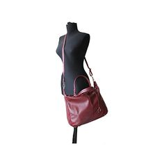 Sandy Italian Burgundy Leather Satchel Handbag - £64.99