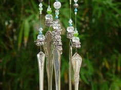 Wind Chime vintage Silverware beads in silver crystal mint and light blue Yard Art