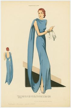 Robe de grand soir en crêpe satin bleu.