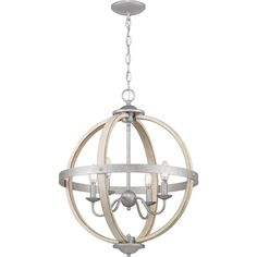 Used Progress Lighting Keowee Galvanized Orb Chandelier with Antique White Wood Accents for sale in Richardson - letgo Wood And Metal Chandelier, Simple Chandelier, Bronze Chandelier, Entryway Lighting, Bar Lighting, House Lighting, Hanging Light Fixtures, Orb Light Fixture, Kitchen Ceiling Lights