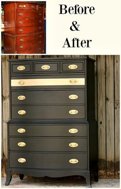 Before and After furniture makeover with Beyond Paint and Rustoleum Metallic Rose Gold Spray Paint Furniture Fix, Refurbished Furniture, Repurposed Furniture, Furniture Projects, Rustic Furniture, Furniture Makeover, Antique Furniture, Bedroom Furniture, Furniture Design