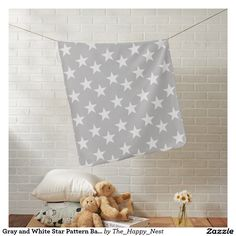 Modern and stylish gray and white star print Baby Blanket for boy or girl.