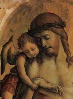 CARLO CRIVELLI (1435 – 1495)   Polittico di Montefiore (dettaglio) - La Pietà - Cristo morto fra due angeli.National Gallery di Londra.