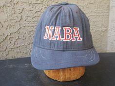 Vintage Black NABA Baseball Hat - Fitted New Era Cap Sz 7 1/4  #NewEra #BaseballCap
