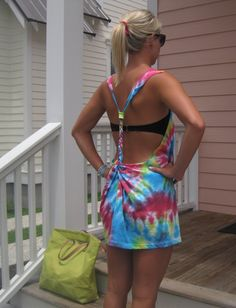 DIY Tie Dye T-shirt Swimsuit Coverup @Jonavin Rhone i could so see you doing this