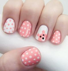 Cutesy pink white polka dots teddy bear nails