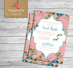 Floral baby shower invitation, pink and blue neutral party invite, boy baby shower, girl baby shower