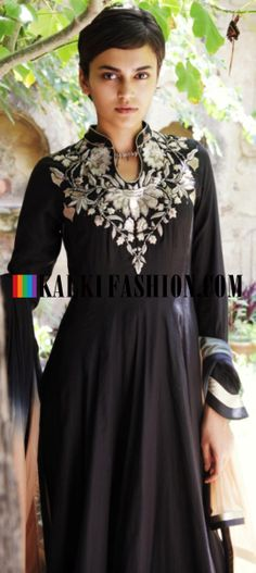 Buy Online from the link below. We ship worldwide (Free Shipping over US$100) http://www.kalkifashion.com/black-anarkali-suit-with-zari-embroidery-by-gaurav-gupta.html Black anarkali suit with zari embroidery By Gaurav Gupta