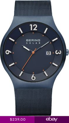 1523a40064959 Bering Time - Solar - Mens Blue Milanese Mesh Watch (Mens) 14440-393