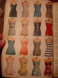 Vintage catalog fashion page. Vintage Bathing Suits, Vintage Bikini, Vintage Swimsuits, Retro Swimwear, Vintage Girls, Vintage Outfits, 1950s Fashion, Vintage Fashion, Fashion 2020