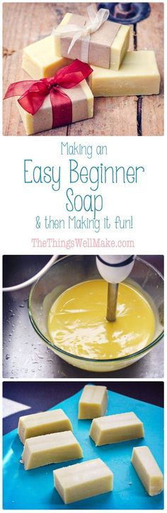 Making soap isn't difficult. Today I'm sharing my quick and easy, basic begi… Making soap isn't difficult. Today I'm sharing my quick and easy, basic beginner soap recipe with fun ideas for personalizing it by adding exfoliants, essential oils, etc. Homemade Soap Recipes, Homemade Gifts, Diy Gifts, Soap Making Recipes, Cold Press Soap Recipes, Recipe Making, Homemade Butter, Homemade Cards, Lotion Bars