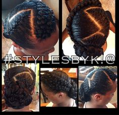 African American French braids flower braids. Updo and bun with zig zag part. #stylesbyk!@