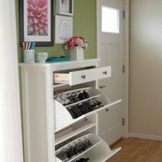 "Ikea Hemnes shoe storage: two compartments plus drawer, fits 12+ pairs of shoes, 35""Wx40""H"