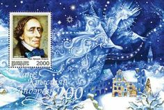 A stamp honoring the 200th anniversary of Hans Christian Andersen's birth shows the Snow Queen flying over Kay's house, listening as this small boy makes his ill-considered boast.